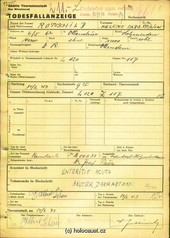 helene rothschild death certificate terezin